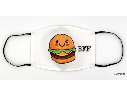 (SZM239) Szájmaszk - BFF Hamburger mintás szájmaszk