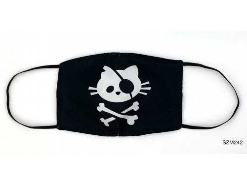 (SZM242) Szájmaszk - Fekete Kalóz cica mintás szájmaszk