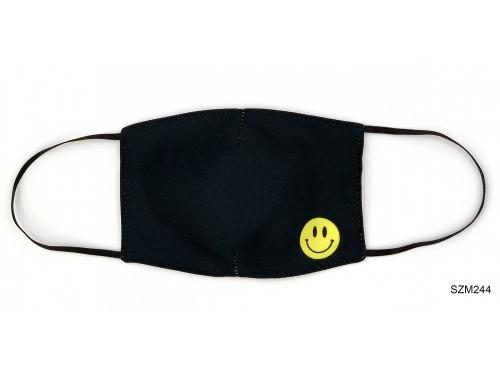 (SZM244) Szájmaszk - Fekete kis smile mintás szájmaszk
