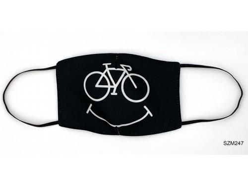 (SZM247) Szájmaszk - Mosolygós kerékpár mintás szájmaszk