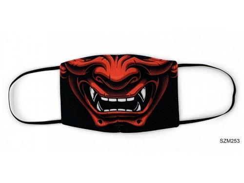 (SZM253) Szájmaszk - Piros Szamurai maszk mintás szájmaszk