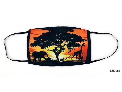 (SZM258) Szájmaszk - Afrikai állat mintás szájmaszk