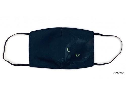 (SZM266) Szájmaszk - Fekete macska mintás szájmaszk