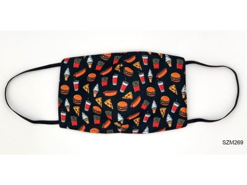 (SZM269) Szájmaszk - Hamburger Pizza mintás szájmaszk