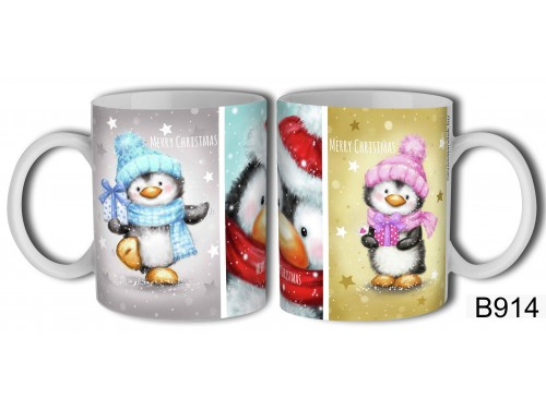 (B914) Bögre 3 dl - Pingvines Merry Christmas - Karácsonyi ajándékok