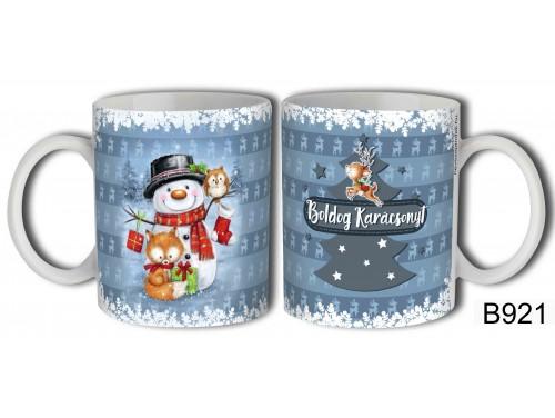 (B921) Bögre 3 dl - Boldog Karácsonyt hóember, róka, bagoly - Karácsonyi ajándékok