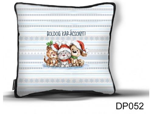 (DP052) Díszpárna 26 cm x 26 cm - Kiskedvences állatos - Állatos Karácsonyi ajándék