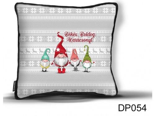 (DP054) Díszpárna 26 cm x 26 cm - Békés Boldog Gnome manós - Karácsonyi ajándék