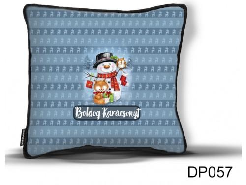 (DP057) Díszpárna 26 cm x 26 cm - Hóember, róka, bagoly - Karácsonyi ajándék