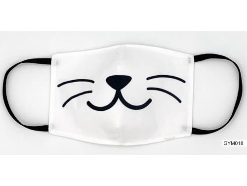 (GYM018) Szájmaszk – Macska bajusz mintás fehér gyerek szájmaszk