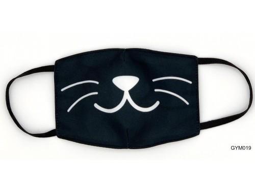(GYM019) Szájmaszk – Macska bajusz mintás fekete gyerek szájmaszk