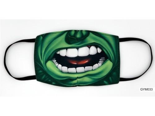 (GYM033) Szájmaszk – Zöld nagy száj mintás gyerek szájmaszk