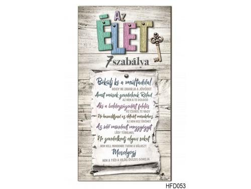 (HFD053) Hűtőmágnes Fa Dekor Tábla 7,5 cm x 14cm - Az élet 7 szabálya - Motivációs ajándék