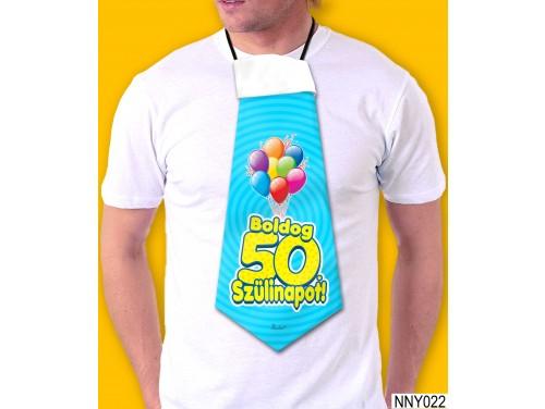 (NNY022) Óriás Nyakkendő – Boldog 50. Szülinapot kék – Vicces Szülinapi Nyakkendő