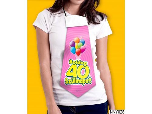 (NNY028) Óriás Nyakkendő – Boldog 40. Szülinapot pink – Vicces Szülinapi Nyakkendő