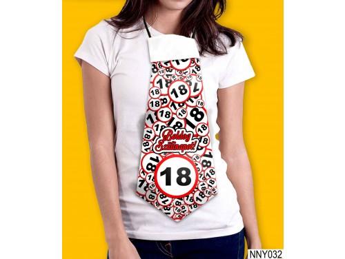 (NNY032) Óriás Nyakkendő – Boldog Szülinapot 18 körös – Vicces Szülinapi Nyakkendő