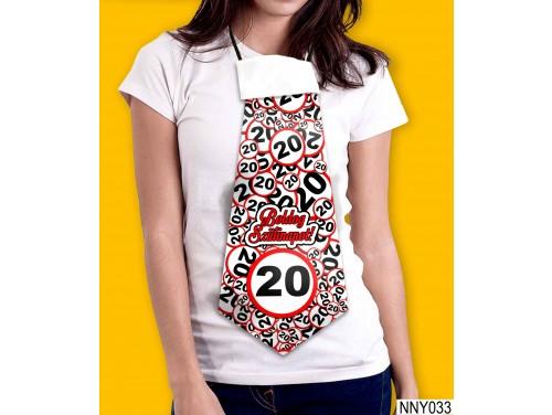 (NNY033) Óriás Nyakkendő – Boldog Szülinapot 20 körös – Vicces Szülinapi Nyakkendő