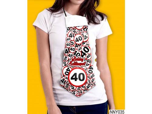 (NNY035) Óriás Nyakkendő – Boldog Szülinapot 40 körös – Vicces Szülinapi Nyakkendő