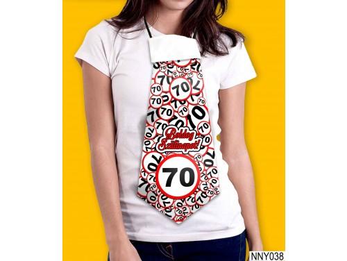 (NNY038) Óriás Nyakkendő – Boldog Szülinapot 70 körös – Vicces Szülinapi Nyakkendő