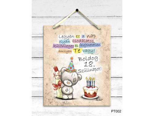 (PT002) Dekor Falikép - Macis Boldog 18. Szülinapot - 18. Születésnapi Ajándék
