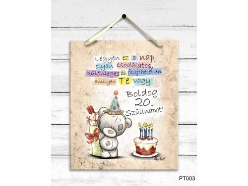 (PT003) Dekor Falikép - Macis Boldog 20. Szülinapot - 20. Születésnapi Ajándék