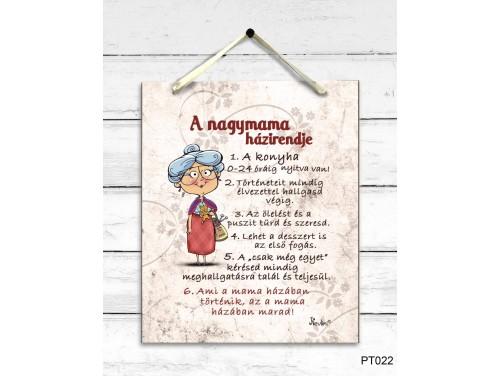 (PT022) Dekor Falikép - A nagymama házirendje - Ajándék Nagymamáknak