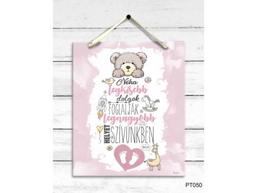 (PT050) Dekor Falikép - A legkisebb dolgok rózsaszín - Babalátogató ajándék