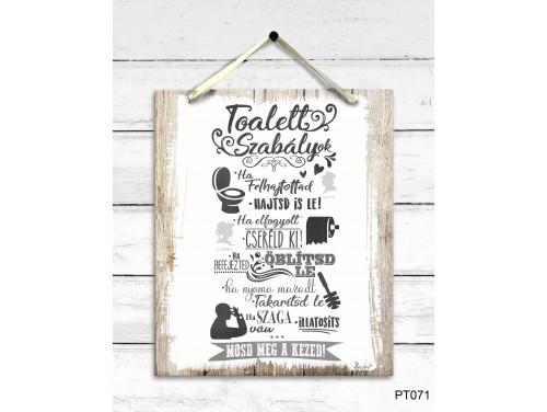 (PT071) Dekor Falikép - Toalett szabályok - Ajándék Nőknek, Férfiaknak