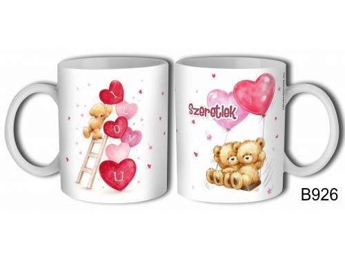 (B926) Bögre 3dl - Lufis Macik - Macis Valentin napi ajándék - Évfordulós ajándék