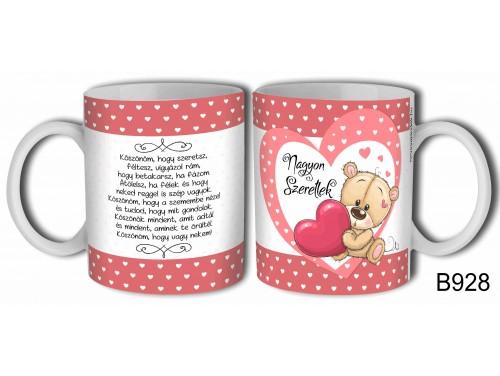 (B928) Bögre 3dl - Köszönöm, hogy szeretsz - Valentin napi ajándék - Évfordulós ajándék