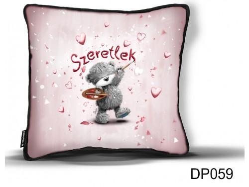 (DP059) Díszpárna 26 cm x 26 cm - Szeretlek Festő Macis - Valentin Napi Ajándékok - Évfordulós Ajándékok