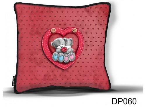 (DP060) Díszpárna 26 cm x 26 cm - Maci pár - Valentin Napi Ajándékok - Évfordulós Ajándékok