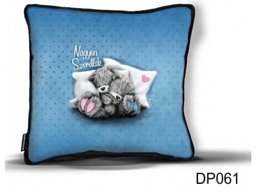 (DP061) Díszpárna 26 cm x 26 cm - Nagyon szeretlek kék macis - Valentin Napi Ajándékok - Évfordulós Ajándékok