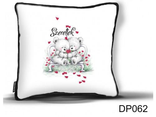 (DP062) Díszpárna 26 cm x 26 cm - Szeretlek Fehér Macik - Valentin Napi Ajándékok - Évfordulós Ajándékok