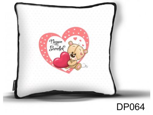 (DP064) Díszpárna 26 cm x 26 cm - Nagyon Szeretlek Maci Szívvel - Valentin Napi Ajándékok - Évfordulós Ajándékok