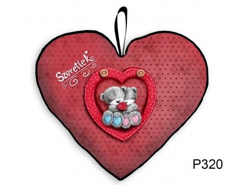 (P320) Párna Kis Szív 25cm - Maci pár - Valentin Napi Ajándékok - Évfordulós Ajándékok