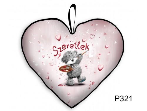 (P321) Párna Kis Szív 25cm - Festő Macis - Valentin Napi Ajándékok - Évfordulós Ajándékok