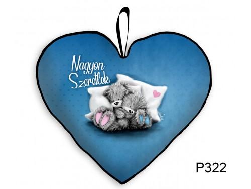 (P322) Párna Kis Szív 25cm - Nagyon Szeretlek Macis kék - Valentin Napi Ajándékok - Évfordulós Ajándékok