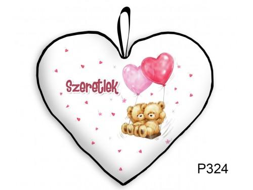(P324) Párna Kis Szív 25cm - Lufis macik - Valentin Napi Ajándékok - Évfordulós Ajándékok
