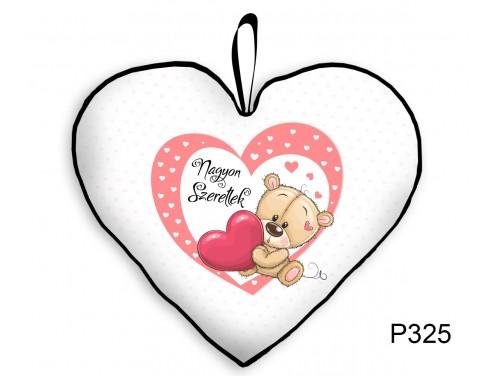 (P325) Párna Kis Szív 25cm - Nagyon Szeretlek Maci Szívvel - Valentin Napi Ajándékok - Évfordulós Ajándékok