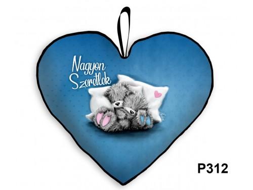 (P312) Párna Nagy Szív 45cm - Nagyon Szeretlek Macis kék - Valentin Napi Ajándékok - Évfordulós Ajándékok
