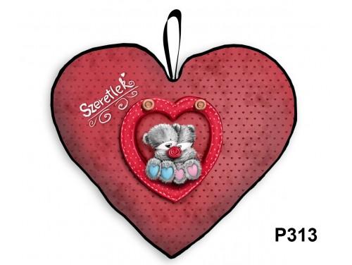 (P313) Párna Nagy Szív 45cm - Szeretlek Maci pár - Valentin Napi Ajándékok - Évfordulós Ajándékok