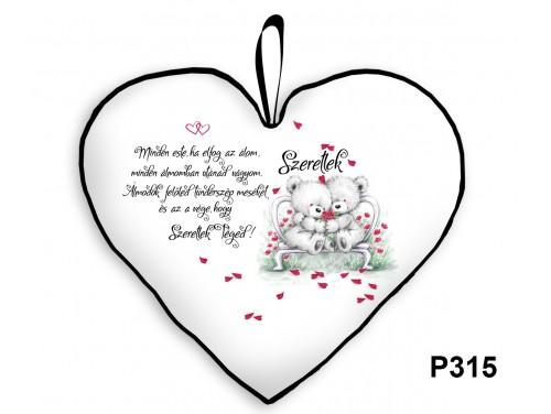 (P315) Párna Nagy Szív 45cm - Minden este fehér macis - Valentin Napi Ajándékok - Évfordulós Ajándékok
