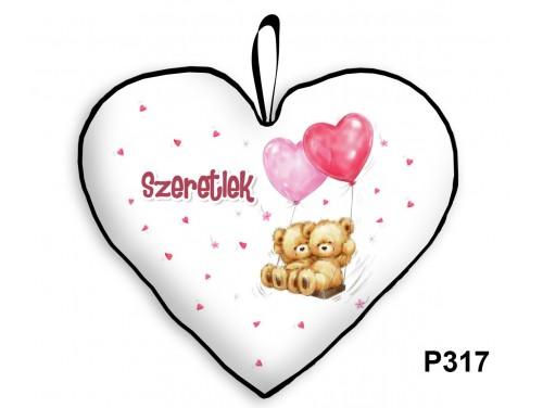 (P317) Párna Nagy Szív 45cm - Lufis Macik - Valentin Napi Ajándékok - Évfordulós Ajándékok