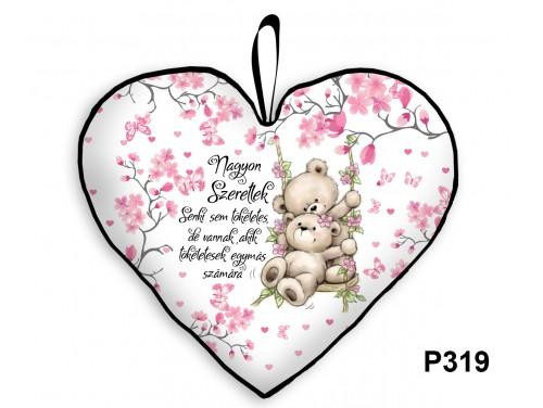 (P319) Párna Nagy Szív 45cm - Senki sem tökéletes macis - Valentin Napi Ajándékok - Évfordulós Ajándékok