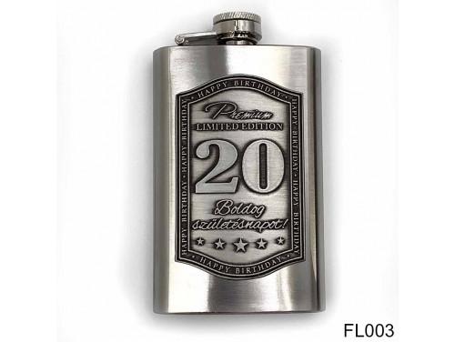 (FL003) Óncímkés flaska laposüveg - Boldog 20. Születésnapot - Szülinapi ajándék
