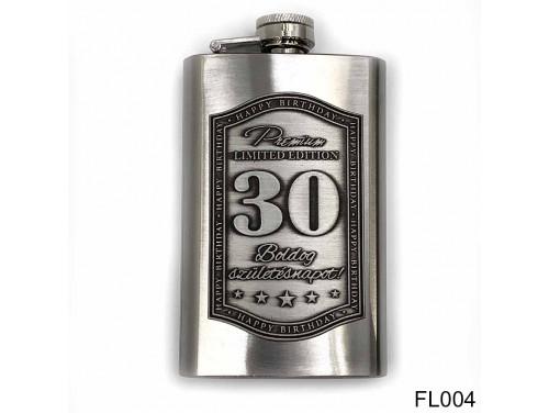 (FL004) Óncímkés flaska laposüveg - Boldog 30. Születésnapot - Szülinapi ajándék