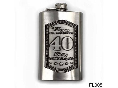 (FL005) Óncímkés flaska laposüveg - Boldog 40. Születésnapot - Szülinapi ajándék