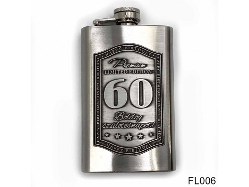 (FL006) Óncímkés flaska laposüveg - Boldog 60. Születésnapot - Szülinapi ajándék