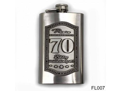 (FL007) Óncímkés flaska laposüveg - Boldog 70. Születésnapot - Szülinapi ajándék